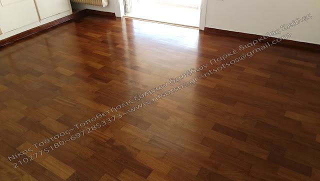 ιρόκο ξύλινο πάτωμα σατινέ