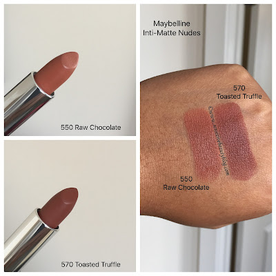 Maybelline Inti-Matte Nudes Lipstick Raw Chocolate and Toasted Truffle
