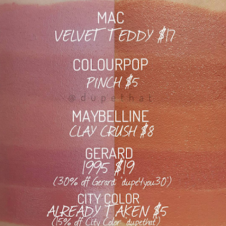 mac velvet teddy dupe maybelline clay crush