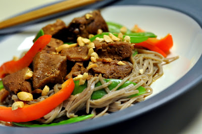 Slow-Cooker Asian Pork with Bell Peppers, Snow Peas, and Soba Noodles - Photo by Taste As You Go