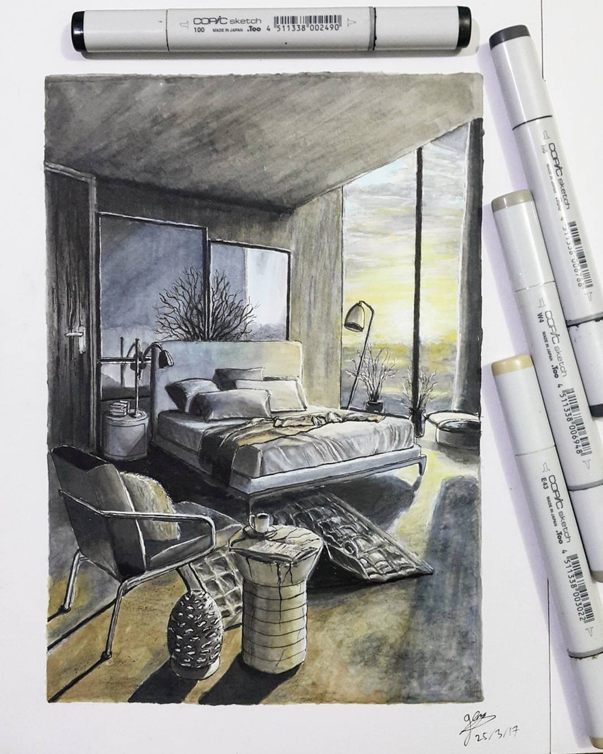 12-Two-Tone-Bedroom-Glenn-Geraldi-Drawings-of-Architecture-and-Interior-Design-www-designstack-co