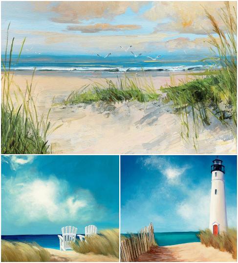 Green Beach Grass Blue Painting Canvas Art