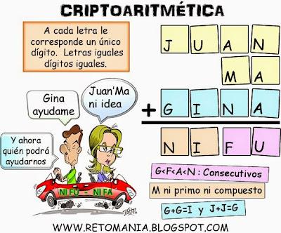 Criptoaritmética, Alfamética, Criptosumas, Juego de Letras, Desafío matemático, Reto matemático, Problema matemático, Problema de lógica, Problemas de ingenio