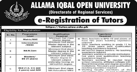 2200+Vacancies AIOU Tutors Jobs 2019