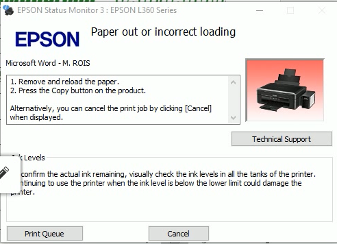 Epson L360 Paper Out or Incorrect Loading