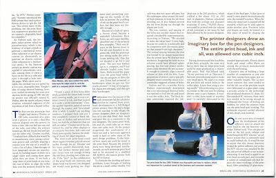Niels Nielsen playing a guitar as shown in inkjet history printed in American Heritage, Spring 2001, pp. 22-23
