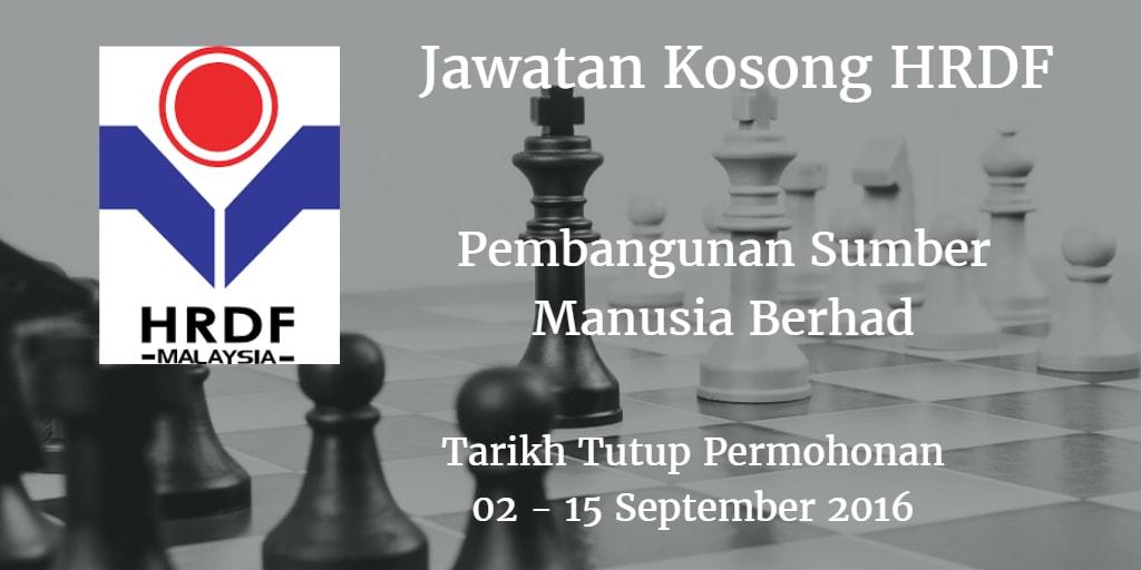 Jawatan Kosong HRDF 02 - 15 September 2016
