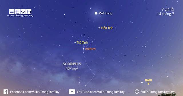 [Ftvh] #BầuTrờiĐêmNay 14/7/2016. Quan sát Mặt Trăng, Sao Hỏa và Sao Thổ.