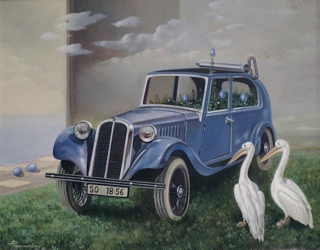 Alberto Pancorbo arte moderno hiperrealista surrealista coche de jugete pájaro