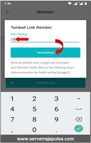 tambahkan markup kode referral di aplikasi android raja mobile topup