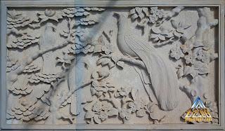 Relief batu alam paras jogja (Batu putih) gambar burung