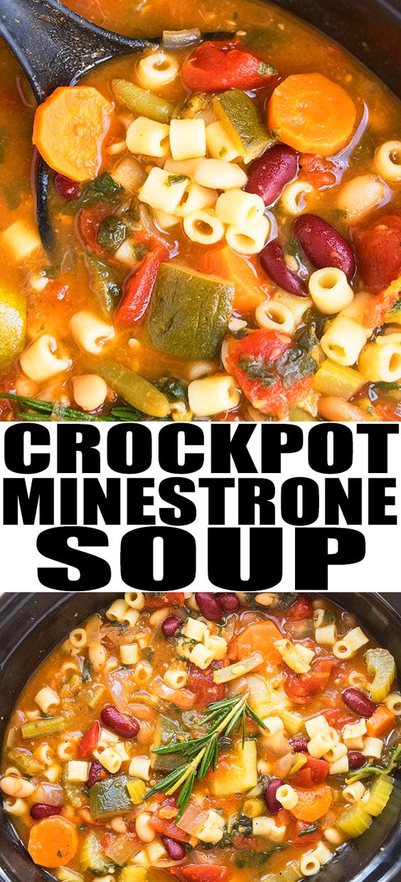 SLOW COOKER MINESTRONE SOUP #SLowcooker #Minestrone #Soup ##vegan #Vegetables #Healthyrecipe #Easyhealhty #Healthydinner