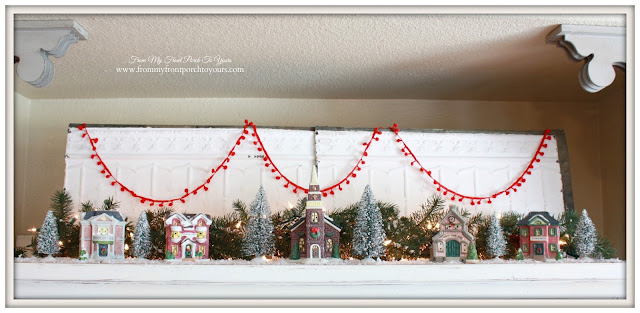 Small Village Pieces-Tv Armoire Display-Christmas Village Vignettes- From My Front Porch To Yours