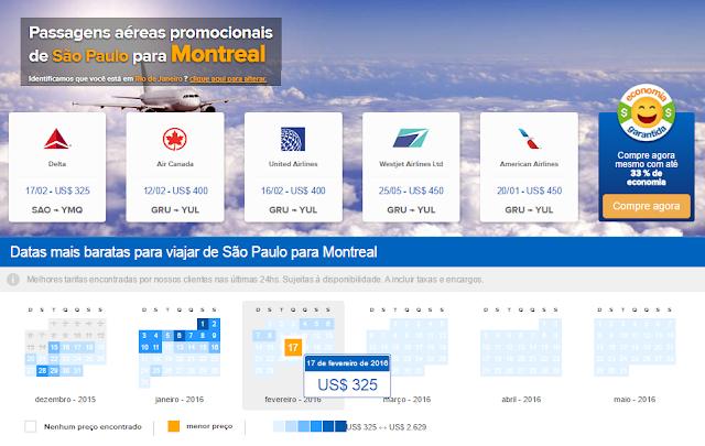 Passagens aéreas em promoção para Montreal