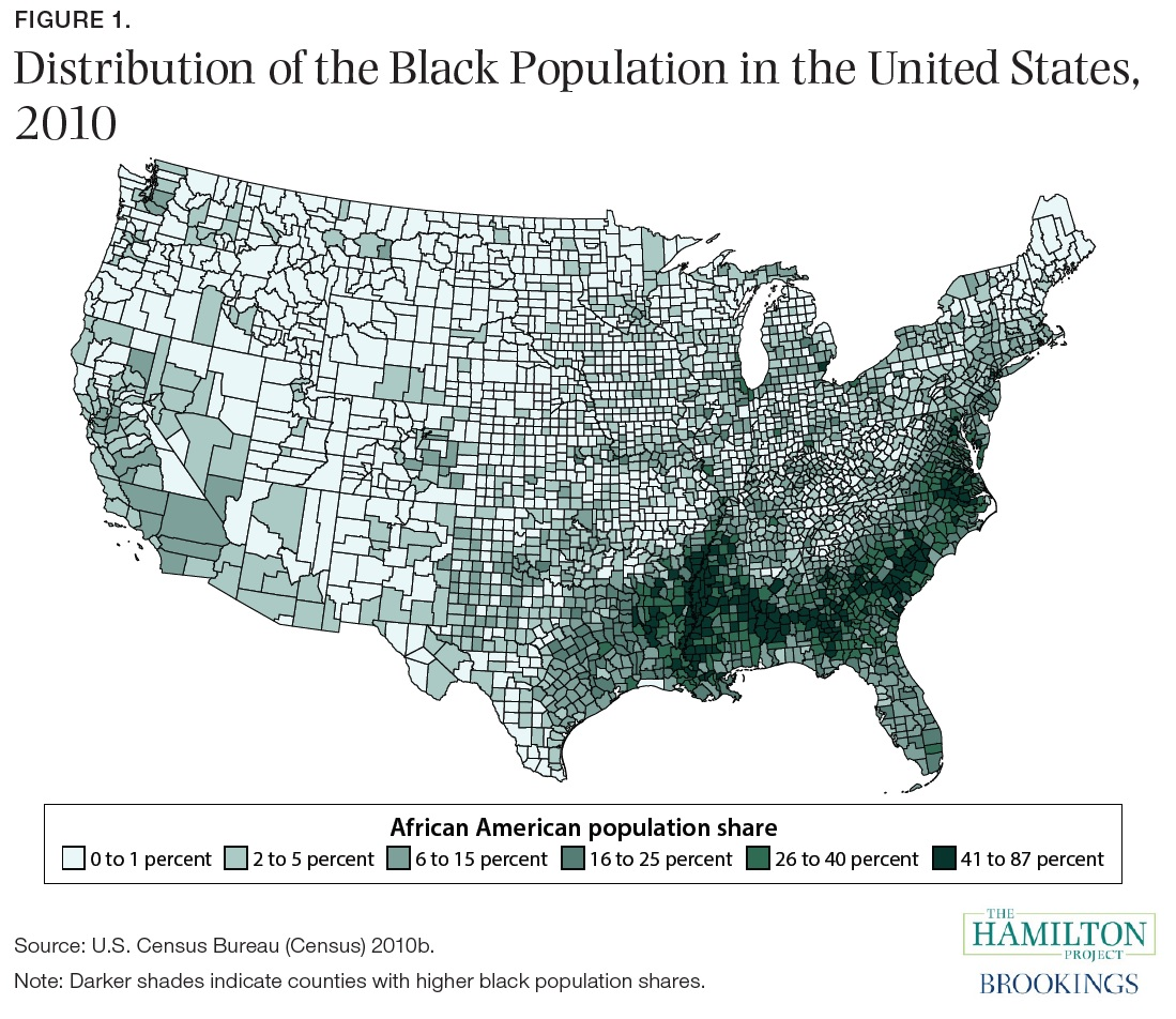 if you compare this map of counties with a high share of black residents with a map showing poverty rates by county you find considerable overlap