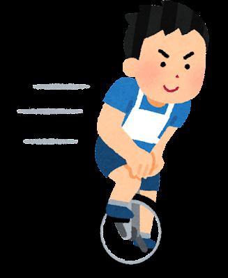 一輪車競技のイラスト(トラックレース・男性)