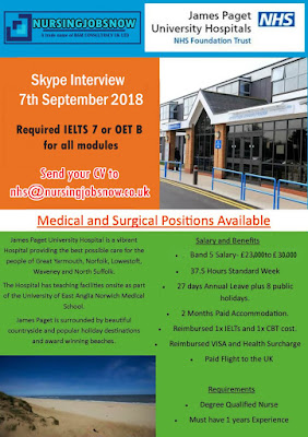 Free Recruitment to James Paget University Hospital NHS Trust In UK - Interview on 7th September 2018