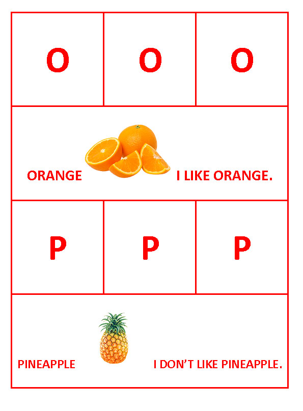 O for Orange and P for Pineapple