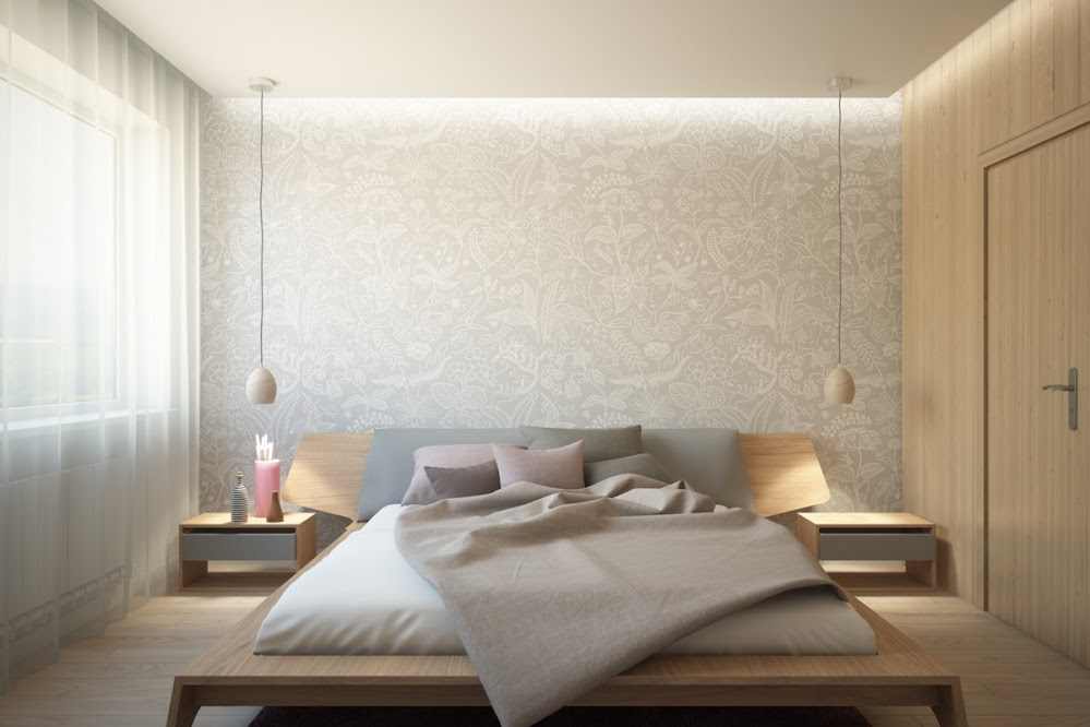 simple-white-bedroom-wallpaper-accent-wall-with-pendants