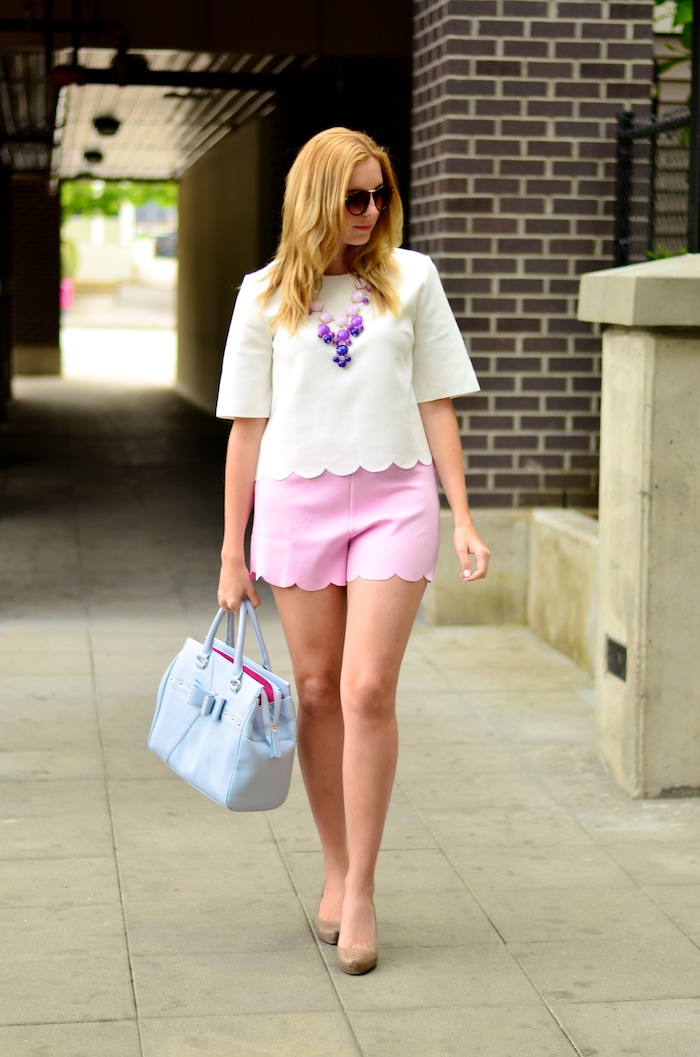 Blush Pink Scalloped Shorts