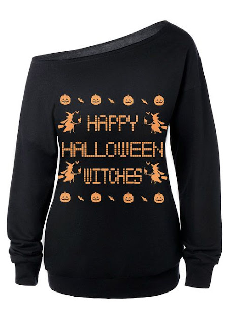 Skew Neck Witches Print Halloween Sweatshirt