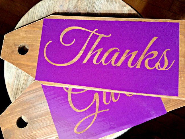 Wooden tags with purple stencil Give Thanks