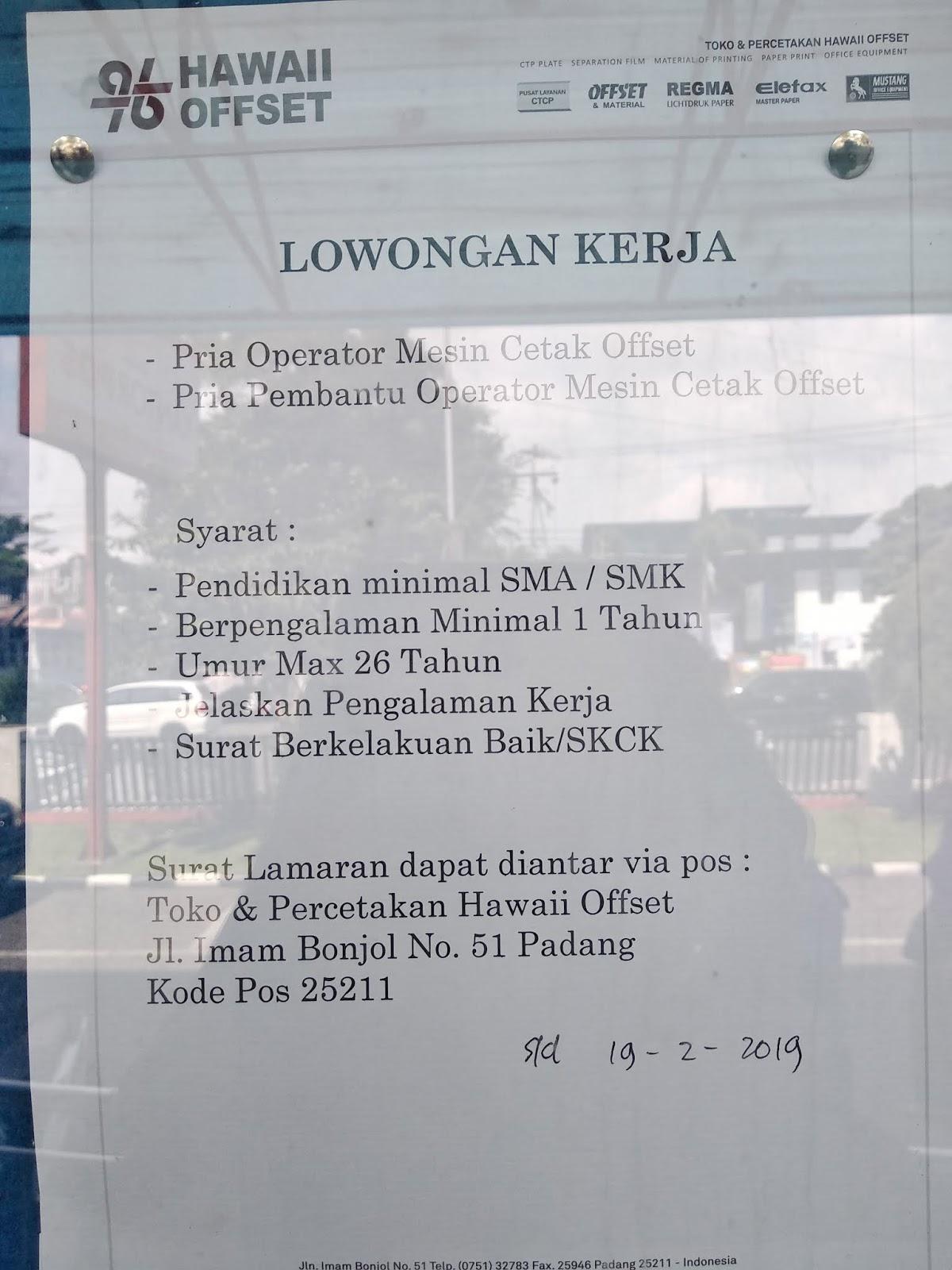 Lowongan Kerja Operator Mesin Padang Adsanjaya