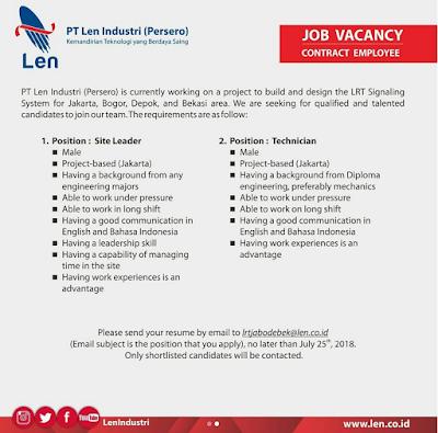 Lowongan Kerja PT Len Industri (Persero) Terbaru 2018