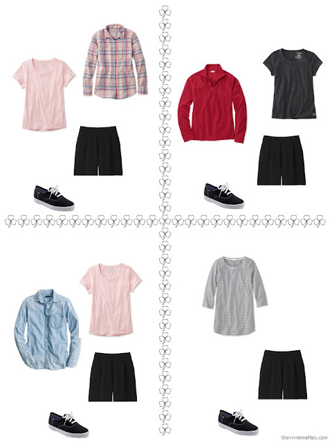 four ways to style black shorts from a travel capsule wardrobe