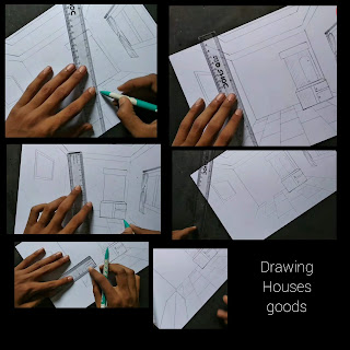 Room drawing with one point perspectives, step by step tutorial, room drawing with pencil, easy house drawing, begginers tutorial