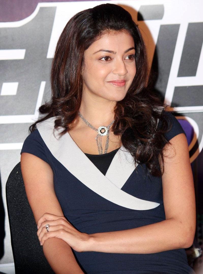 Kajal Agarwal At Movie Audio Launch Stills In Blue Dress