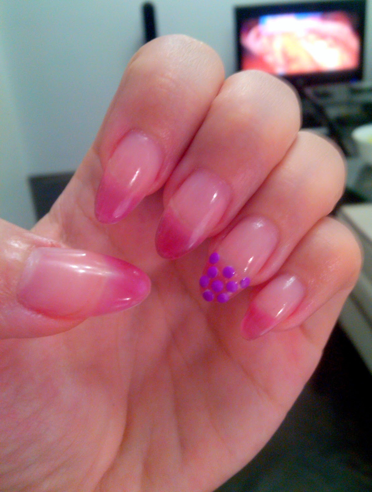 pink purple french manicure stiletto nails with studs,