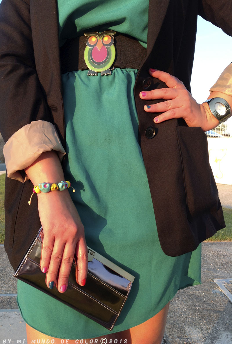 look green dress and black blazer