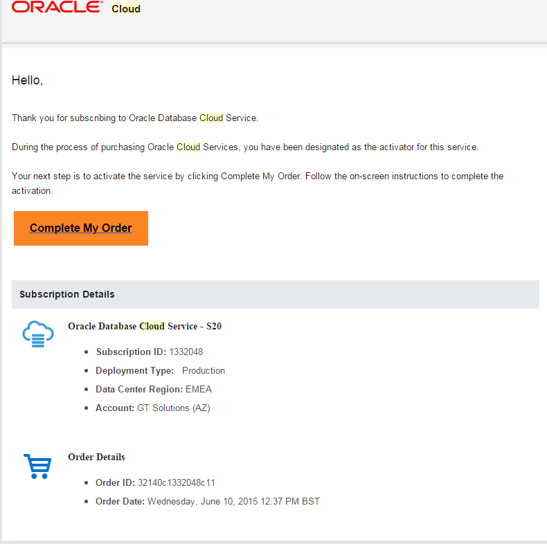 Database Schema as a Service - Oracle Cloud