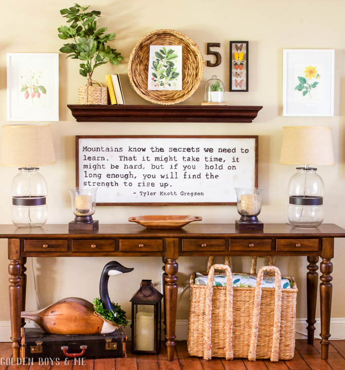 Spring gallery wall with Pottery Barn console