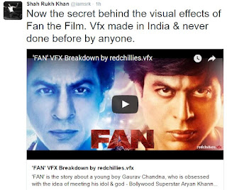 Screenshot of SRK Tweet, Fan VFX, Redchillies