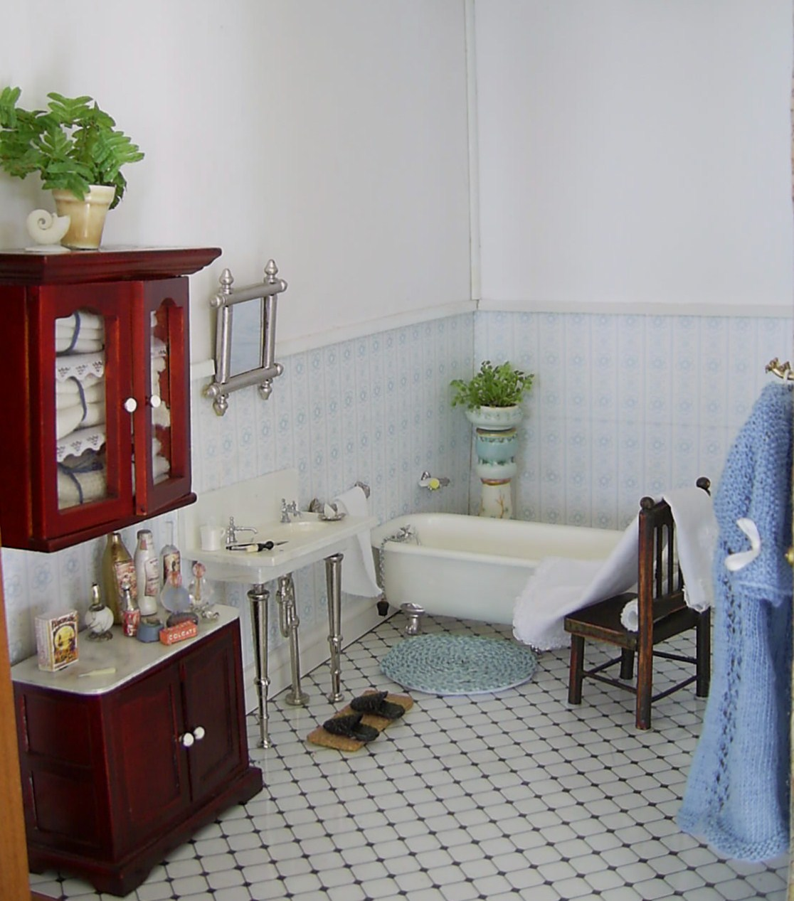 Dolls houses and minis edwardian dolls house decoration for Bathroom ideas edwardian