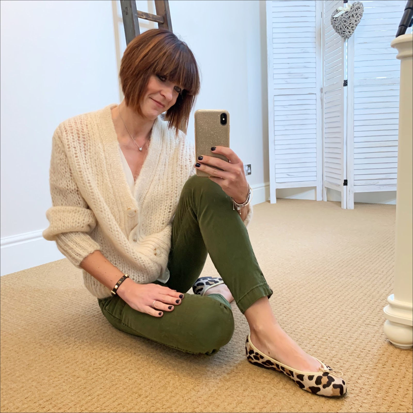 my midlife fashion, j crew slim fit cargo pants, marks and spencer silk sleeveless blouse, and other stories mohair oversized cardigan, french sole henrietta leopard print ballet flats