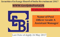 Securities and Exchange Board of India Recruitment 2017– Officer Grade A (Assistant Manager)