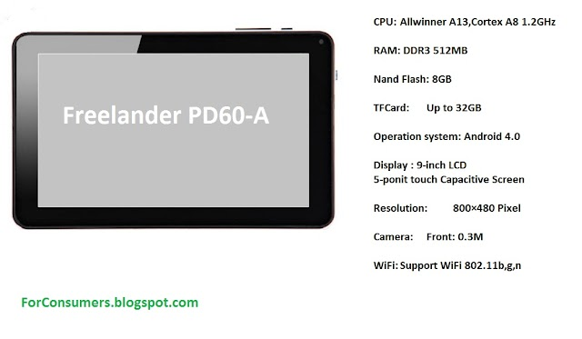 Freelander PD60-A 9-inch Android 4.0 tablet specifications and videoreview
