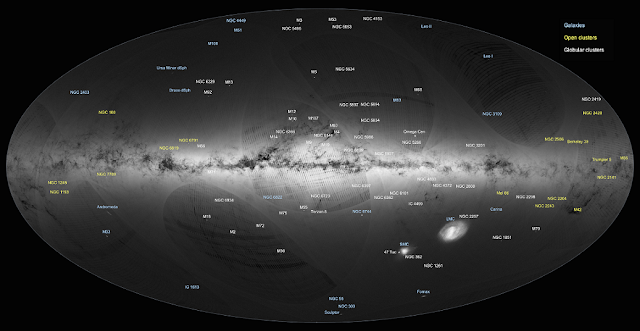 An all-sky view of stars in our Galaxy – the Milky Way – and neighbouring galaxies, based on the first year of observations from ESA's Gaia satellite, from July 2014 to September 2015.  This map shows the density of stars observed by Gaia in each portion of the sky. Brighter regions indicate denser concentrations of stars, while darker regions correspond to patches of the sky where fewer stars are observed. Credit: ESA/Gaia/DPAC
