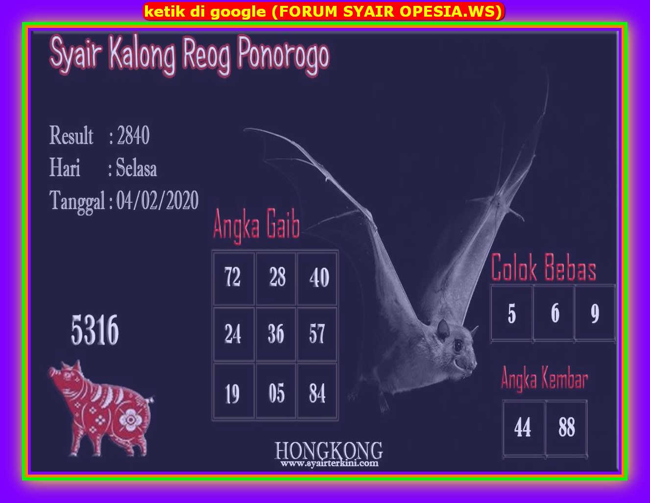 Kode syair Hongkong Selasa 4 Februari 2020 78