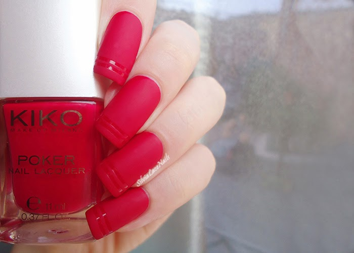 Fall matte red nail art: KIKO Poker 03 Suggestive Red