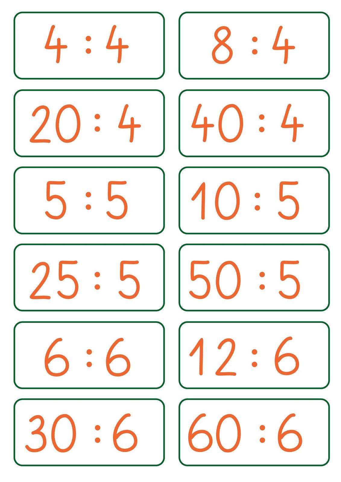 Lernstübchen: Aufgabenkarten zur Division