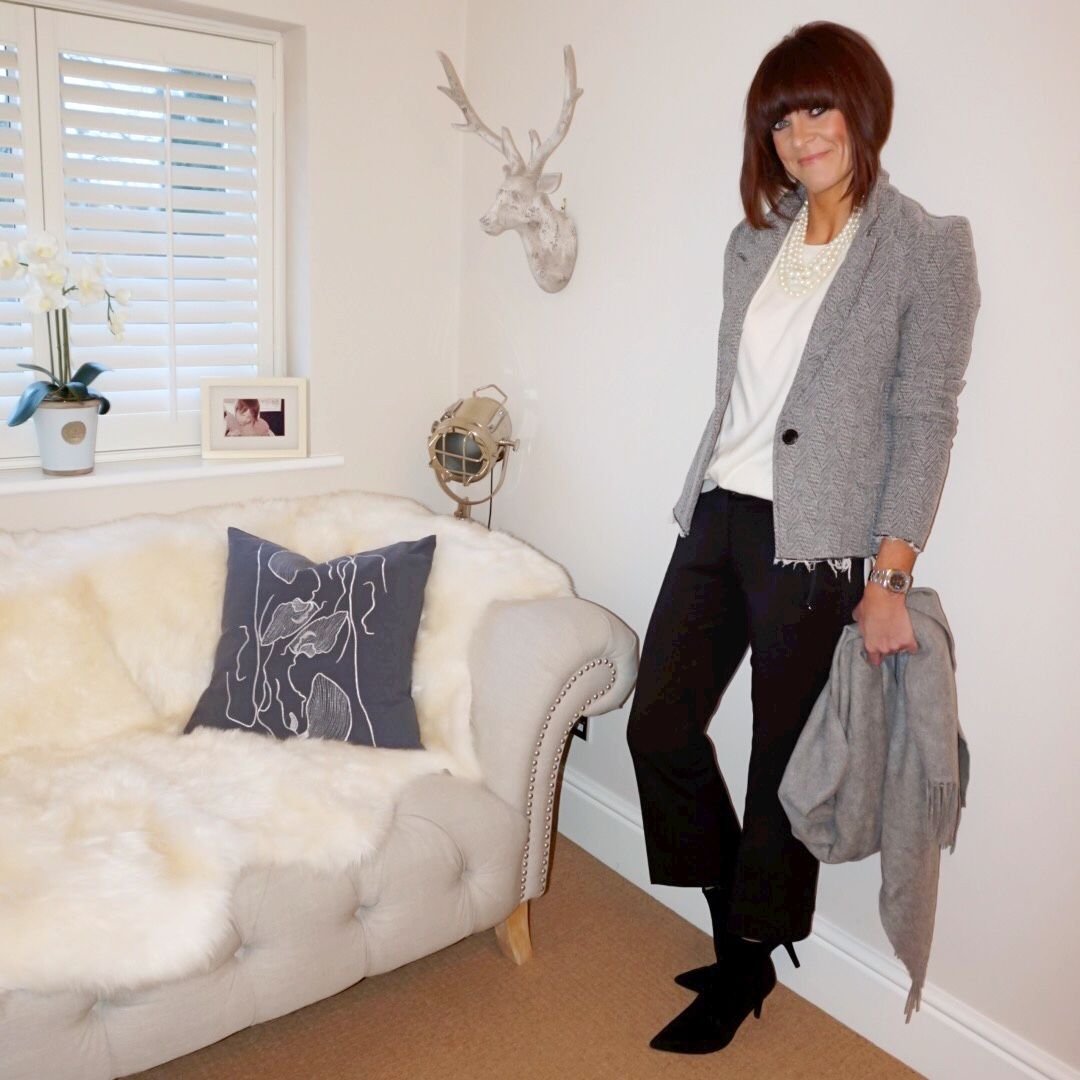 my midlife fashion, isabel marant etoile tweed jacket, j crew twisted pearl hammock necklace, hush cashmere boyfriend crew neck jumper, j crew cropped kick flare chinos, marks and spencer stiletto heel ankle boots