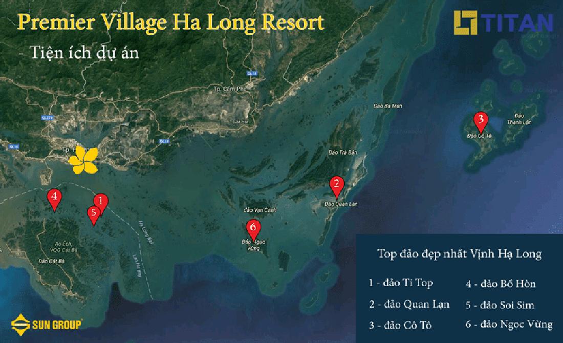 Bản đồ vị trí của Premier Village Hạ Long Resort, và các đảo đẹp nhất vịnh Hạ Long