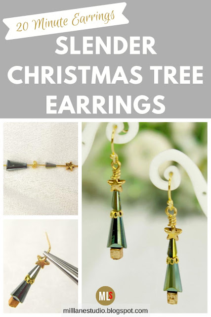 Slender Christmas Tree earrings project sheet