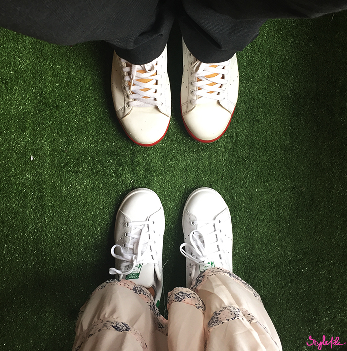 Bloggers wearing Adidas Originals Stan Smith White Sneakers at Lakme Fashion Week in Mumbai India