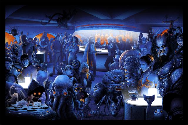 Cantina llena de personajes famosos de ciencia ficción