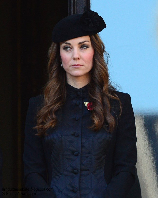 Duchess Kate  Kate Solemn In Temperley For Remembrance Sunday Kate was joined on the balcony in Whitehall by The Countess of Wessex and  Sir Timothy Laurence  husband of The Princess Royal   Protocol dictates  that those